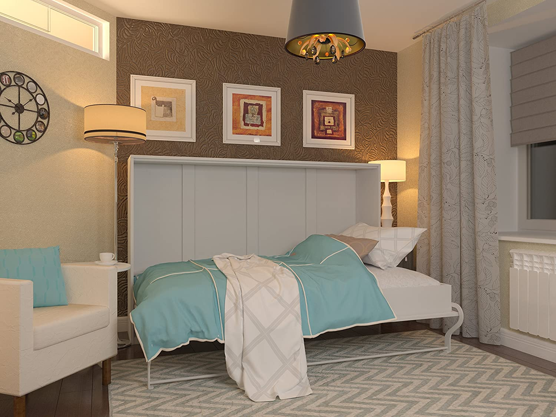 Schrankbett 120×200 cm Horizontal Weiß – Schrankklappbett & Wandbett, ideal als Gästebett – Wandbett, Schrank mit integriertem Klappbett, SMARTBett online kaufen