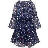 Smukke, Big Girls Beautiful Printed Dress (with Options), 7-16 (12, Navy Multi) (Color: Navy/Multicolor, Tamaño: 12)