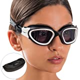 AqtivAqua Swim Goggles ~ Wide View Swimming Goggles for Adult Men Women Youth Child (White/Black Color) (Color: White/Black-Frame Tinted Gray-Lenses)