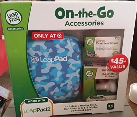 Leapfrog Leappad Accessories On-the-go Bundle. Blue Carrying Case, Car Adapter & $15