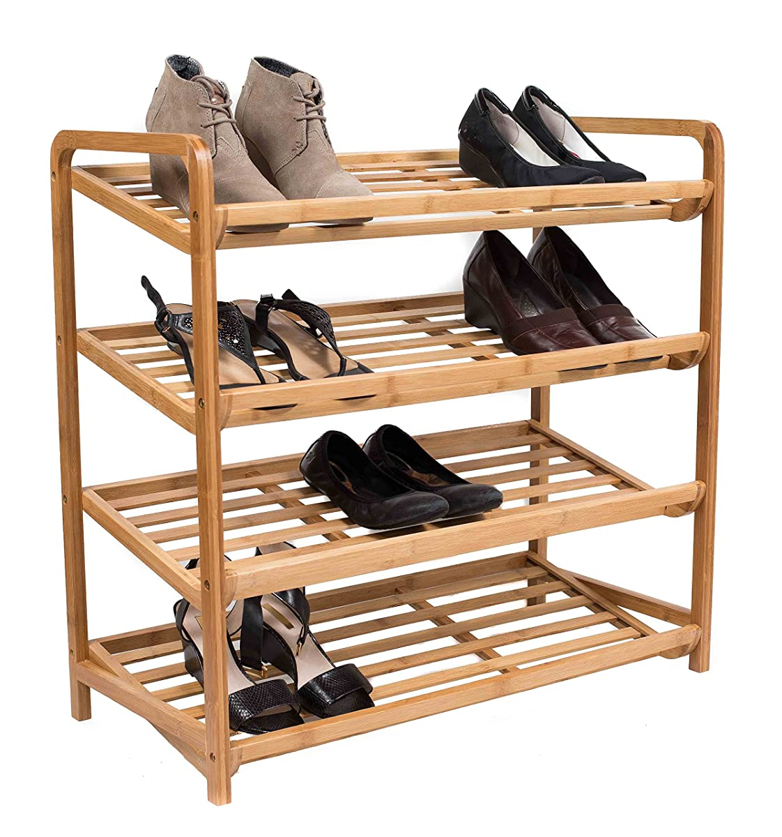 BirdRock Home 4-Tier Bamboo Shoe Rack | Environmentally Friendly | Fits 9-12 Shoes