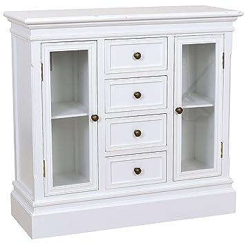 Cómoda con 2 puertas de cristal & 4 cajones y armario de madera de colour blanco con diseño de registro de