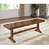 WE Furniture Solid Wood Brown Dining Bench (Color: Antique Brown, Tamaño: None)
