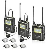 Saramonic UWMIC9 96-Channel Digital UHF Wireless Lavalier Microphone System with 2 Bodypack Transmitters, Portable Receiver, 2 Lav Mics & Bonus