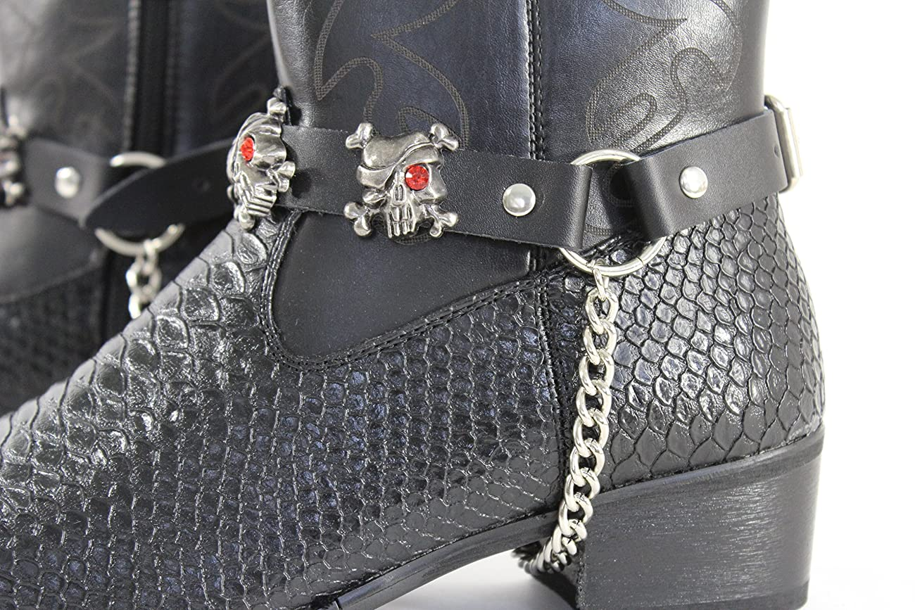 TFJ Men Biker Boot Bracelets Black Leather Straps Silver Skeleton Pirates Skulls Motorcycle Style 5