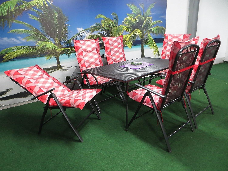 13-teilige Luxus Streckmetall Gartenmöbelgruppe von Madiosn und RRR, Klappsessel, 8 cm Hochlehner Auflagen rot kariert und Gartentisch 150x90 anthrazit, P30