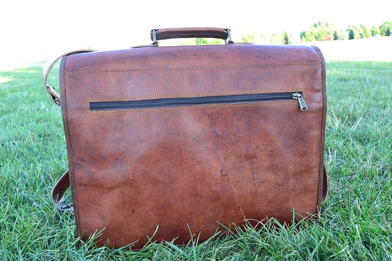 PL 16 Inch Vintage Leather Messenger Bag Briefcase / Fits upto 15.6 Inch Laptop 3