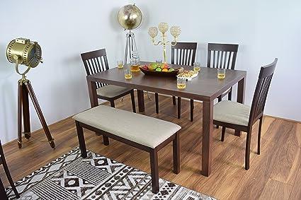 De mesa y 4sillas de comedor con banco, madera maciza, rectangular Cena mesas rectangulares de madera Muebles de Cocina Moderno contemporáneo conjuntos de sala de restaurante