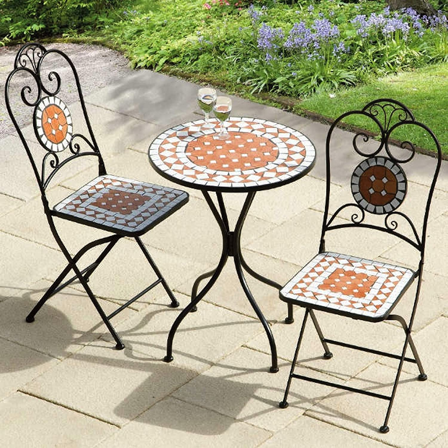 bistro tiles table 2 folding chairs set patio terrace furniture ebay