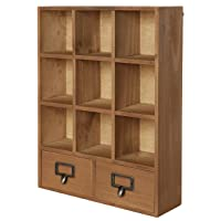 Wall Mounted Wooden Display Shelves w/ 2 Drawers