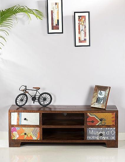 Sit-Möbel 1421-30 mueble madera y tela, mango de madera de yute, 130 x 40 x 50 cm, Multicolor
