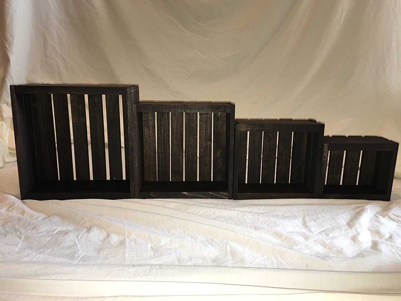 Vintage Stained- Rustic Wood Crates- Set of 4 4