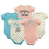 Luvable Friends Baby Infant Basic Bodysuit, 5 Pack, Bonjour, 12M(9-12 Months) (Color: Bonjour 5pk, Tamaño: 9-12 Months)