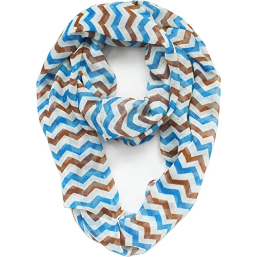 Vivian & Vincent Soft Light Weight Zig Zag Chevron Sheer Infinity Scarf (Teal/Brown/White)