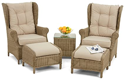 Maze Rattan Winchester High Back 5 Piece / 5pc Lounge Set in a Rounded Natural Toned Weave
