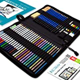 Drawing Watercolor Pencils Art Supplies - 53 Coloring and Sketching Art Set - Each Art Supply Includes Bonus Sketch Book and Digital Library Drawing Tutorials - Pencil Pouch, Graphite Charcoal, Eraser (Color: 53-Piece)