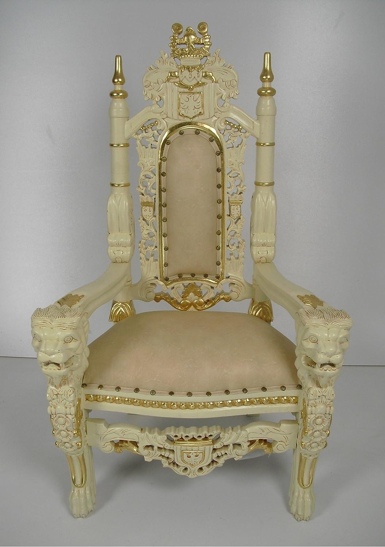 Königssessel, Königsstuhl als Kindermöbel (childrenchair) sehr prachtvoll in elfenbeinfarben mit Goldblattauflagen jetzt bestellen