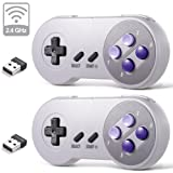 2 Pack 2.4 GHz Wireless USB Controller Compatible with Super Famicom Games, iNNEXT SNES Retro USB PC Super Classic Controller for Windows PC MAC Linux Genesis Raspberry Pi Retropie (Purple/Gray) (Color: Wireless Purple / Gray)