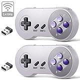 2 Pack 2.4 GHz Wireless USB Controller Compatible with Super Famicom Games, iNNEXT SNES Retro USB PC Super Classic Controller for Windows PC MAC Linux Genesis Raspberry Pi Retropie (Purple/Gray) (Color: Wireless Purple / Gray)