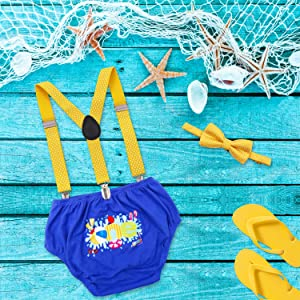 Beach Ball Cake Smash Outfit Pool Party First Birthday Bloomers Bowtie Adjustable Y Back Suspenders Strap Clip Costume Diaper Cover Yellow Blue (Color: Yellow Blue, Tamaño: Small)