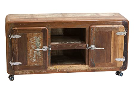 """Sit-Möbel 2615-98 bajo """"nevera"""", 135 x 40 x 56 cm, auténtica madera vieja, con nevera asas de metal ruedas, rojo"""