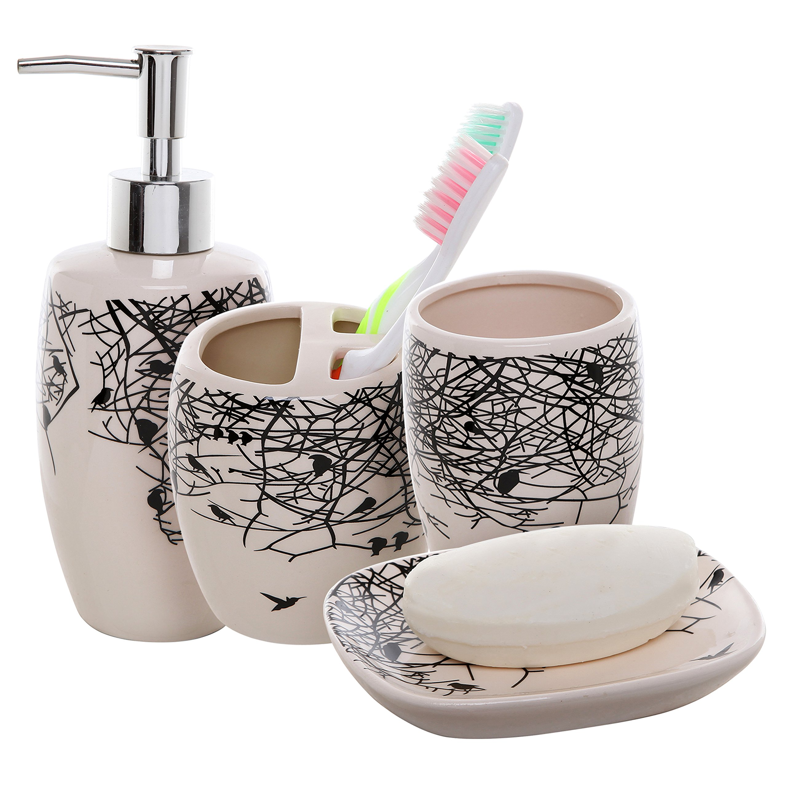 4 piece beige ceramic bathroom accessories set for Ceramic bathroom accessories sets