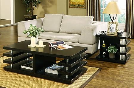 Cira Multi-Tier Elevated Shelf Dark Cappuccino Coffee Table Set