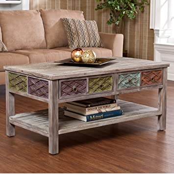 Unique Rustic Wood Coffee Table - This Weathered White Washed ...Distressed Style Cocktail Table With 2 Drawers and Storage Make A Striking Accent Table