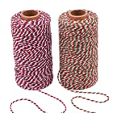 Sunmns Christmas Twine Cotton String Rope Cord for Gift Wrapping, Arts Crafts, 656 Feet (Multicolor E) (Color: Multicolor E)