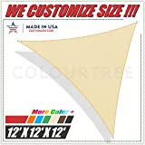 ColourTree 2nd Gen 12' x 12' x 12' Beige Sun Shade Sail Triangle Canopy Awning UV Resistant Heavy Duty Commercial Grade, We Make Custom Size
