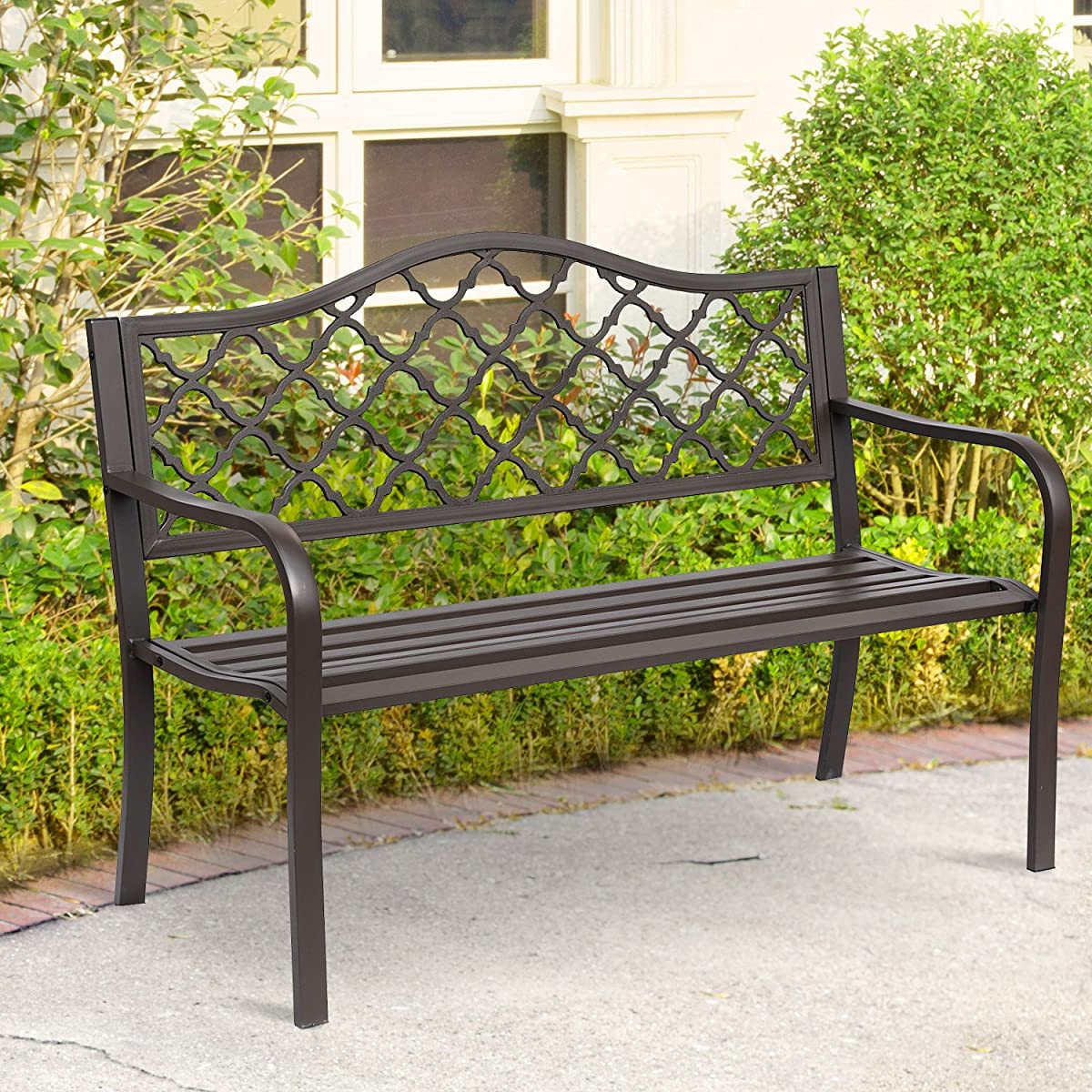 Outsunny Antique Style Outdoor Cast Iron Front Porch Bench Garden Chair