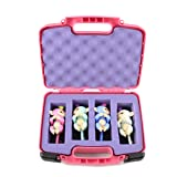TOY BOX Travel Storage Fingerlings Case – Fun PINK Protective Home Designed To Carry Four Fingerling Baby Monkey Collector Children Kid Toys - By CASEMATIX