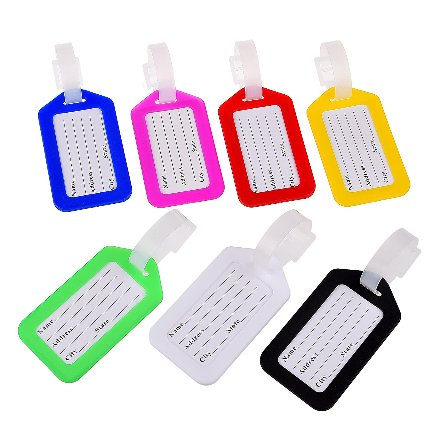 Set of Luggage Tags with Address Cards - 7 Different Colors - Perfect to Quickly Spot Your Luggage - Adjustable Strap - Durable and Strong - Makes Traveling Easier, Safer and Secure
