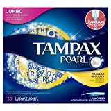 Tampax Pearl Plastic Tampons, Regular Absorbency, Unscented, 50 Count