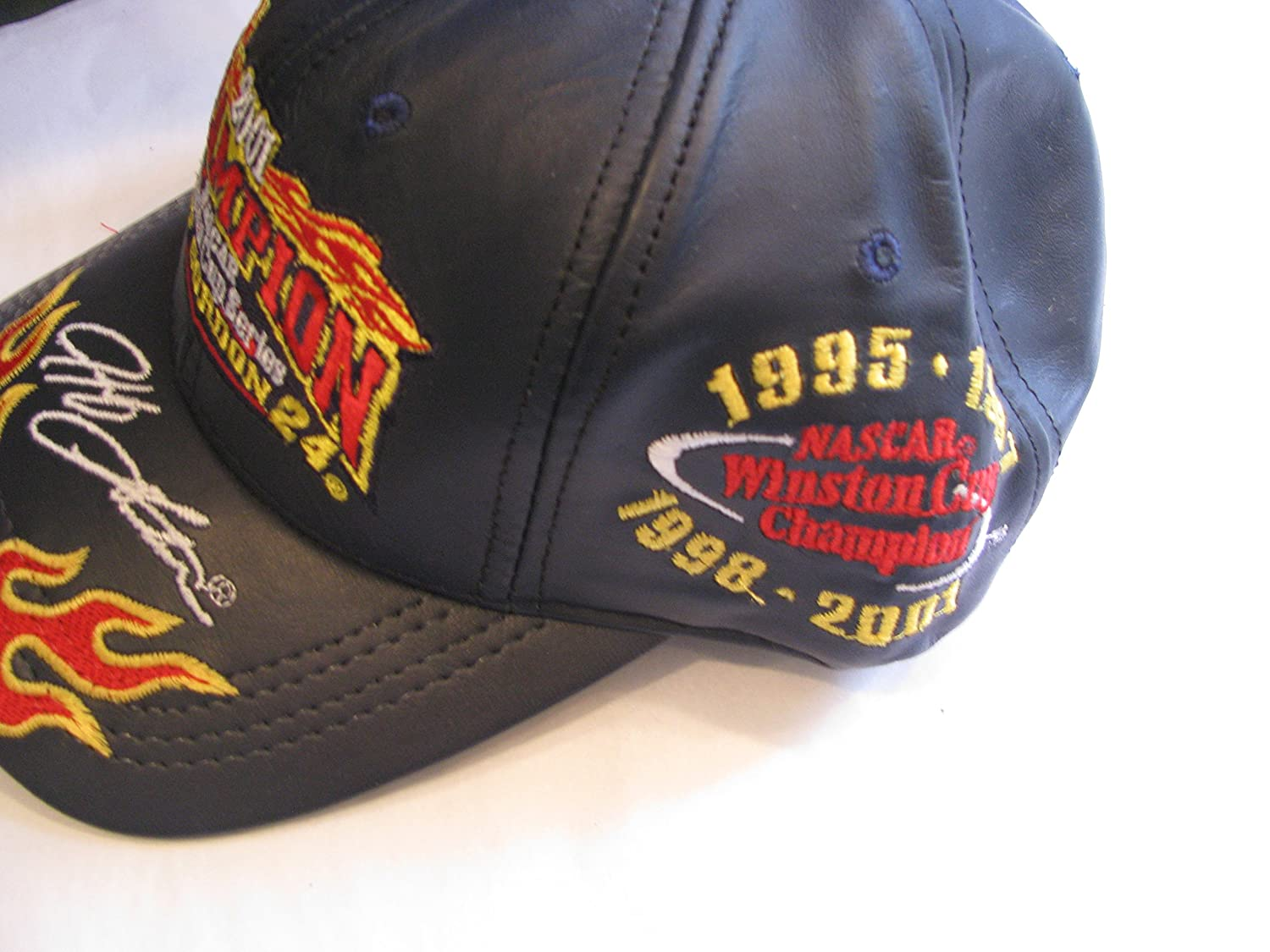 все цены на All Leather Jeff Gordon #24 2001 Winston Cup Series Champion Championship 1995 1997 1998 2001 Black With Red & Yellow Flames Highlights Hat Cap One Size Fits Most OSFM Chase Authentics онлайн