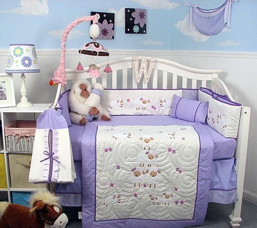 Amazon.com : SOHO Lavender Wolly Sheeps Crib Nursery Bedding Set 14 pcs : Nursery Bedding Sets For Girls : Baby