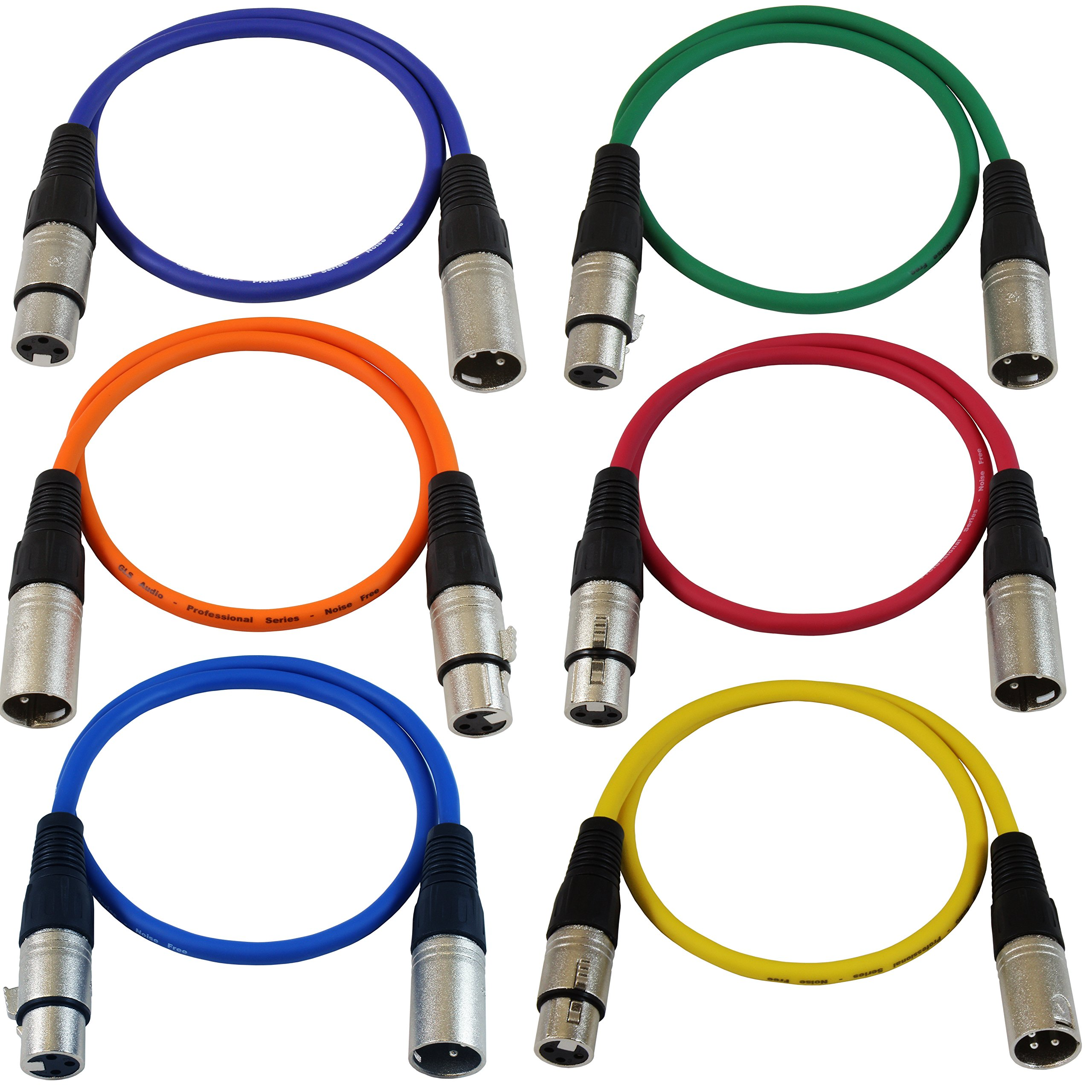6 pack gls audio color 2ft balanced xlr patch cables colored cable cords ebay. Black Bedroom Furniture Sets. Home Design Ideas