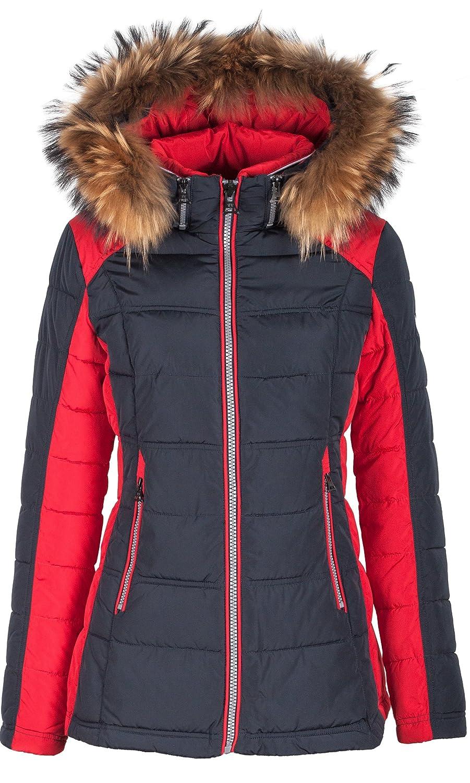 "5M99 Damen Winterjacke Skijacke in Daunen-Optik ""TARORE"" mit Echtfellkapuze blau / rot online kaufen"