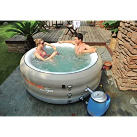 Jilong Plastic Prompt Set Deluxe Portable 4 Person Spa in Tan Affordable Durable and Inflatable 110V Plug and Play Air Bubble Massage Hot Tub in Box