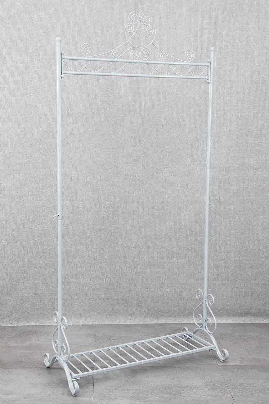 Chic and Sturdy Garment Rack - Clothing Racks with Bottom Shelf for Shoes – Metal Hanging Clothes Stand (White) 1