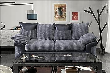 Grande Nuovo Dino Jumbo Cordon Tissu et panneau en simili cuir pour canapé 3places, Noir/gris, 3 sièges