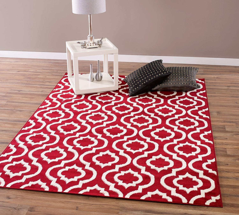 Trellis Area Rug Red Ivory Lattice Carpet Contemporary