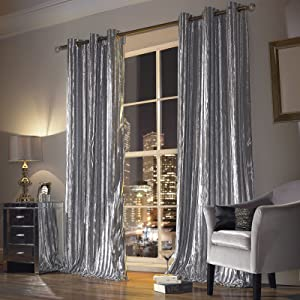 ILIANA KYLIE MINOGUE VELVET CURTAINS   Luxury Silver Grey Eyelet Curtain Pair Silver ( Grey ) Curtain Pair 66  x 72  ( bedroom )       review and more information