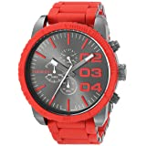 Diesel Men's DZ4289 Double Down Series Stainless Steel Watch with Red Accents (Color: Red/Gunmetal)