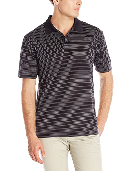 Haggar Men's Short Sleeve Polo Striped, Black, Small