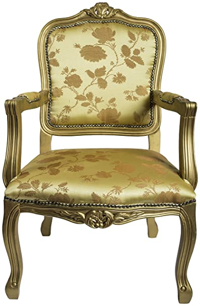 DERRYS Louis Antique Style French Armchair in Floral, Wood, Gold