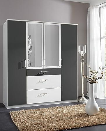 Click Black White 2/3/4 Door Mirrored Wardrobe Drawers Bedroom Furniture German Mirror 100% Made in Germany (4 Door)