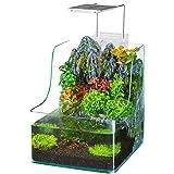 Penn Plax Aqua Terrarium Planting Tank With Aquarium for Fish, Waterfall, LED Light, Filter, Desktop Size, 1.85 Gallon (Color: Yellow, Tamaño: Medium)