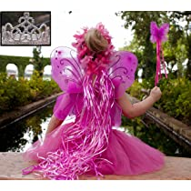Pink & Hot Pink 5 Piece Fairy Princess Costume Set - Includes Tutu Wings Wand and Flower Halo and Silver Tiara