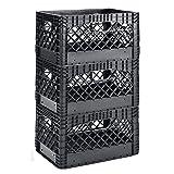 Muscle Rack PMK24QTB-3 24 Quart 3 Pack Black Heavy Duty Rectangular Stackable Dairy Milk Crates, 11